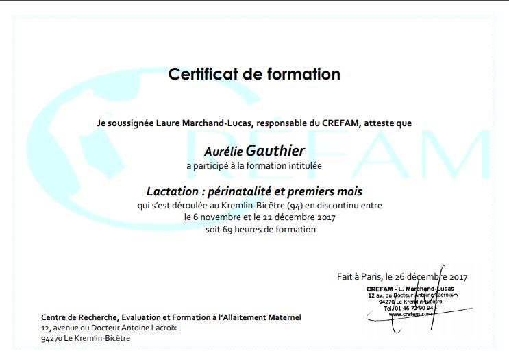 Certificat de formation dAurélie Gauthier