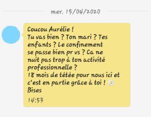 Capture d'écran d'un sms. Sur fond jaune, une maman prend des nouvelles d'Aurélie et indique qu'elle est actuellement à 18 mois de tétée et que c'est en partie grâce à Aurélie.
