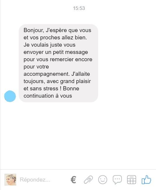 Capture d'écran d'un mail reçu par une maman qui tenait à remercier Aurélie pour son accompagnement. Elle indique allaiter encore, avec grand plaisir et sans stress souhaitant aussi une bonne continuation à Aurélie.