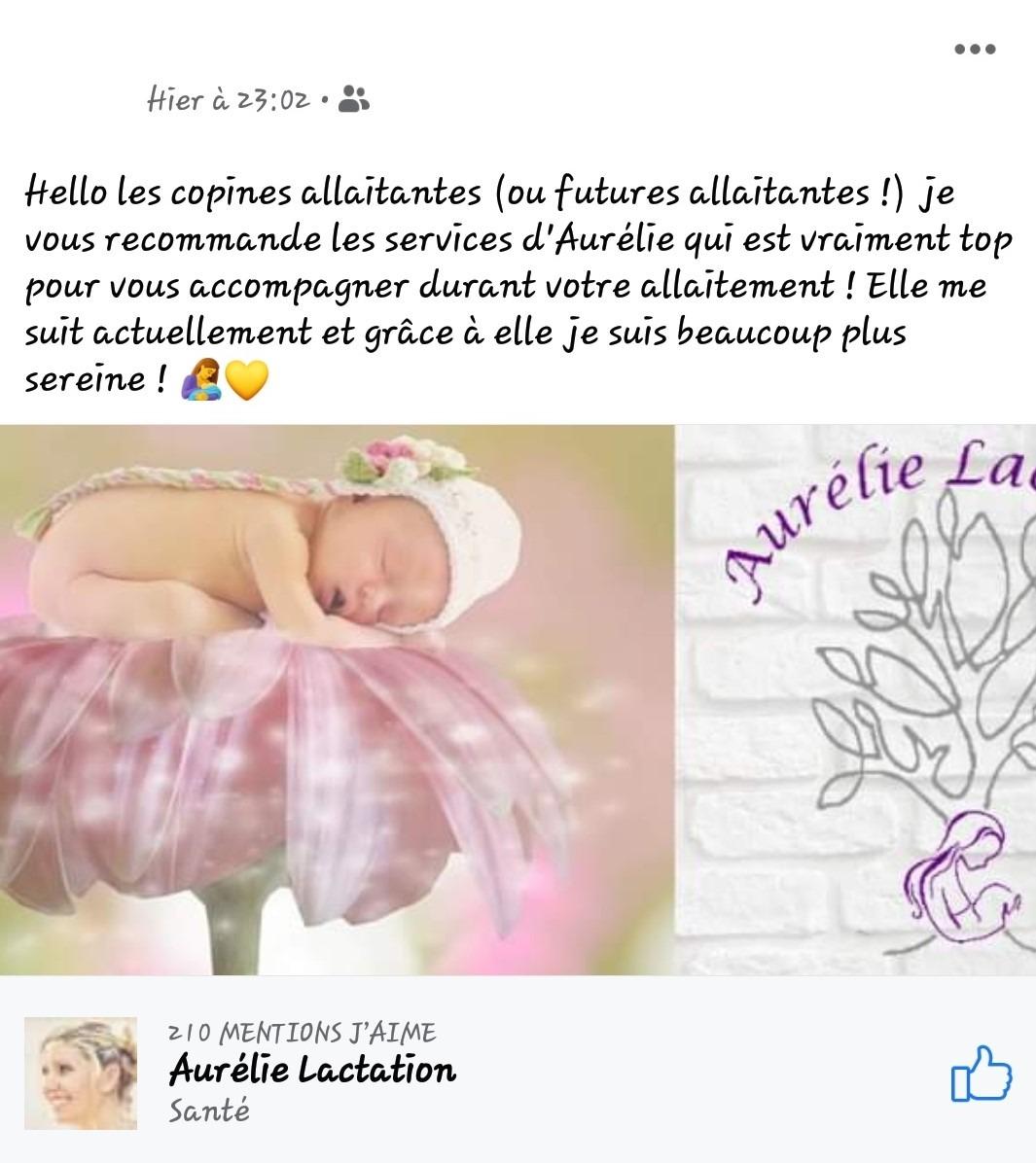 Capture d'écran de Justine concernant Aurélie Lactation. Elle recommande à ses copines allaitantes ou futures mamans les services d'Aurélie. Elle précise que celle-ci est top niveau accompagnement de l'allaitement.